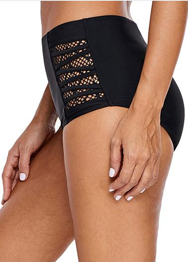 High Waist Fishnet Panel Black Swimwear Panty - fashionyanclothes