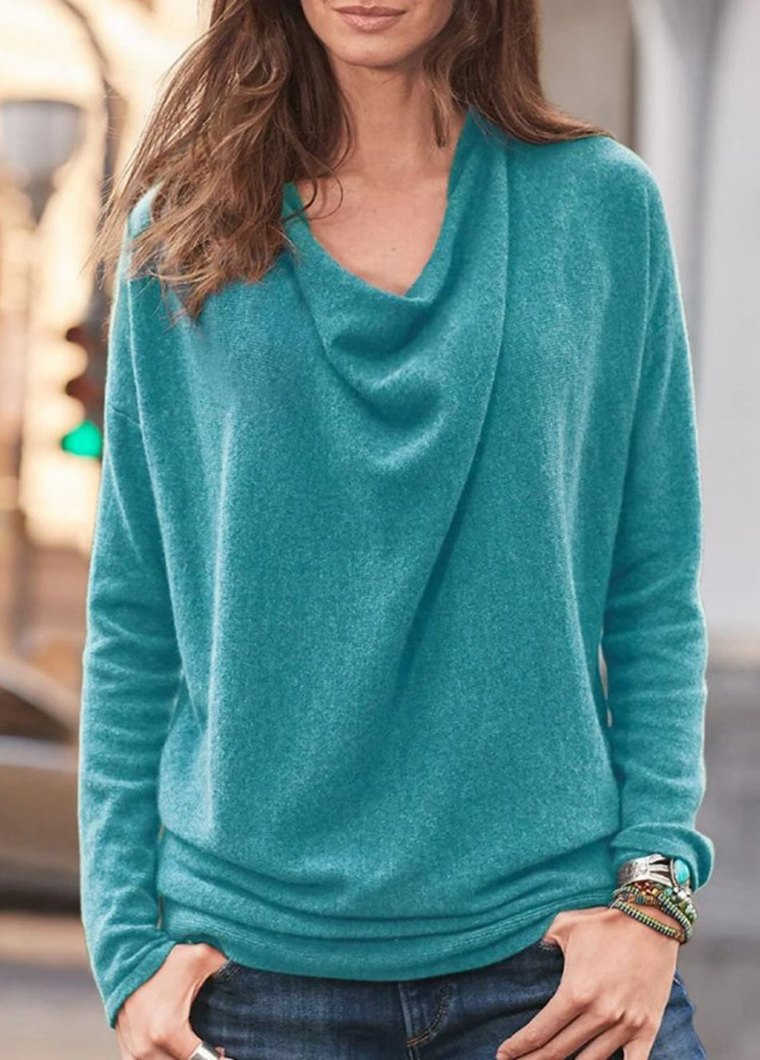 Cowl Neck Long Sleeve Soild T Shirt