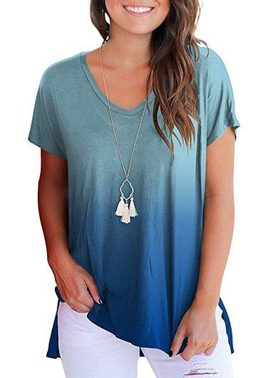 Short Sleeve V Neck Loose T Shirt - fashionyanclothes