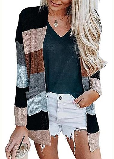 Fashionyan Casual Wide Striped Cardigan - fashionyanclothes