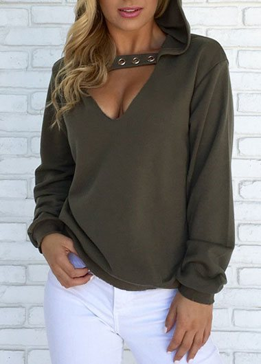 Loose Fleece V-neck Hoodie
