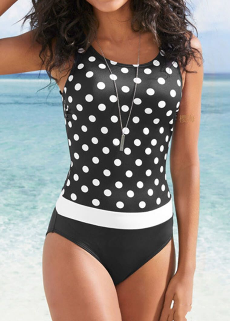 Dot Printed Patchwork One Piece
