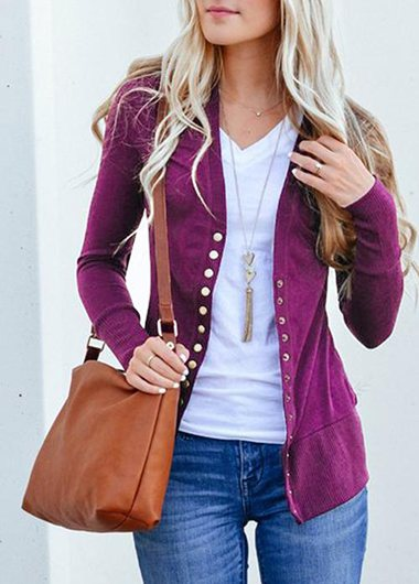 Knitted Plus Size Casual Button Detail Cardigan - fashionyanclothes