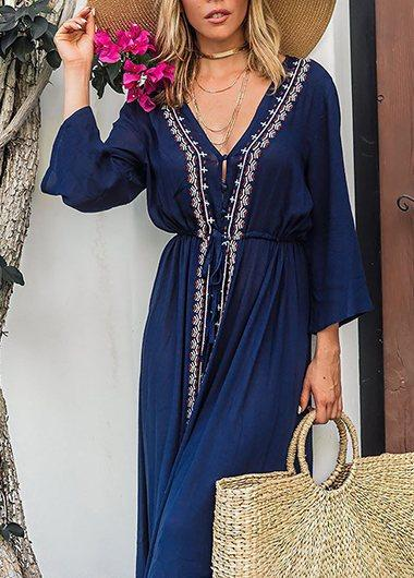 Cotton Embroidered Beach Cover Up - fashionyanclothes