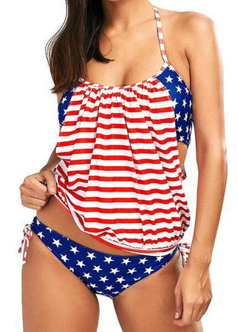 Flag Printed  Striped PaddedSwimsuit - esshe