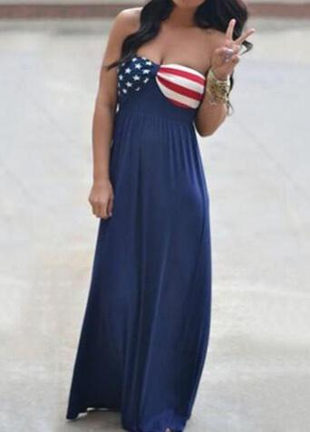 American Flag  Long Maxi Dress - fashionyanclothes