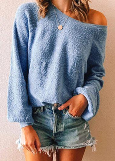 One Shoulder Long Sleeve Solid Tops - fashionyanclothes