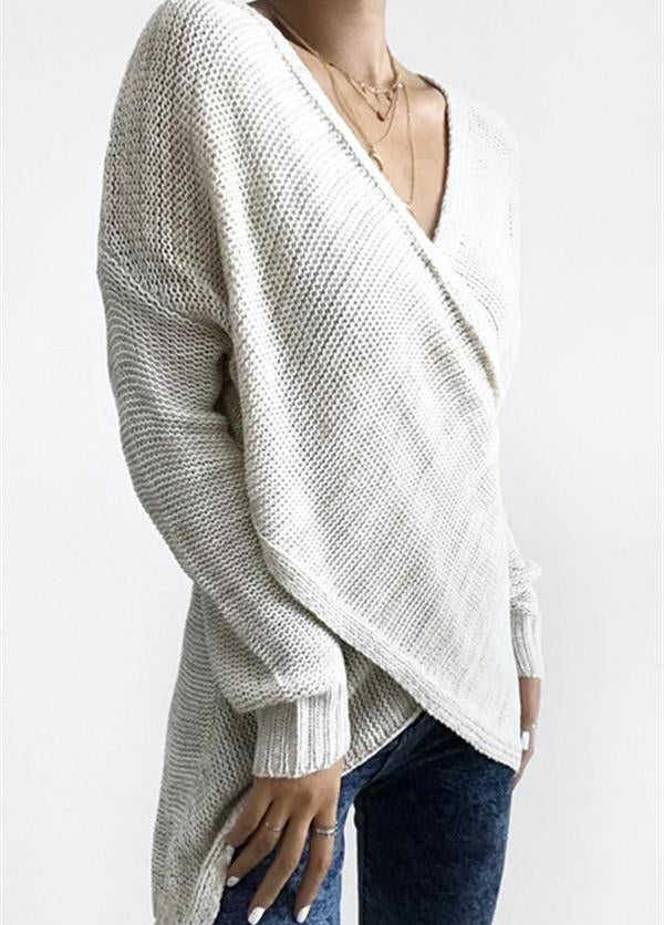 Casual V Neck Front Cross Weekend Sweater Top - fashionyanclothes