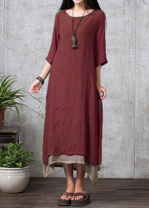 Vintage  Bohemian Irregular Hem Casual Boho Maxi Dress