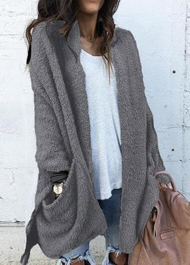 Pocket Splicing Long Sleeved Plush Coat - esshe