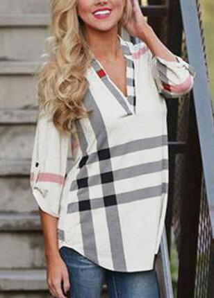 Plaid Printed  V-Neck Casual T-shirt - fashionyanclothes