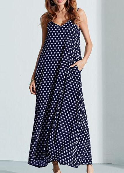 Plus Size Polka Dot Print Maxi Dress - fashionyanclothes