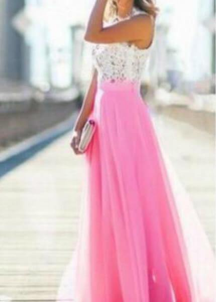 Lace Chiffon  Hollow Pink Dress - fashionyanclothes