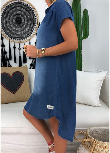 Short Sleeve V Neck Stripe Denim Dress - fashionyanclothes