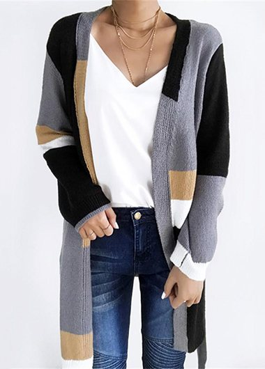 Fashionyan Patchwork Self Tie Cardigan - fashionyanclothes