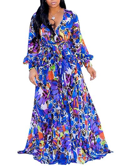 V Neck Mock Wrap Printed Belted Dress - fashionyanclothes