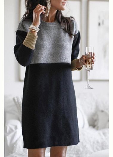 Casual Patchwork Sweater Dress - fashionyanclothes