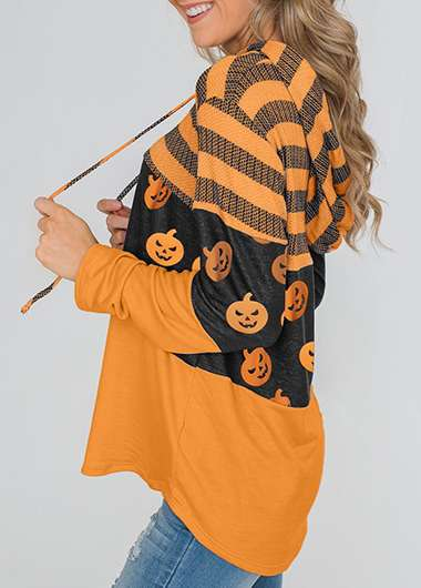 Pumpkin Lamp Print Long Sleeve Hoodie - fashionyanclothes
