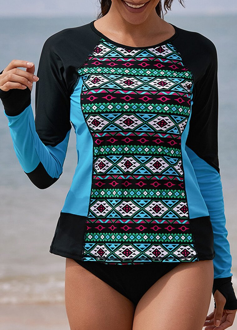 Plus Size Flower Printed Patchwork Wetsuit