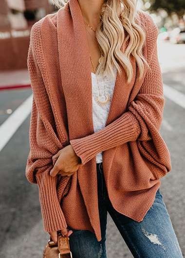 Solid Long Sleeve Knitted Cardigan - fashionyanclothes