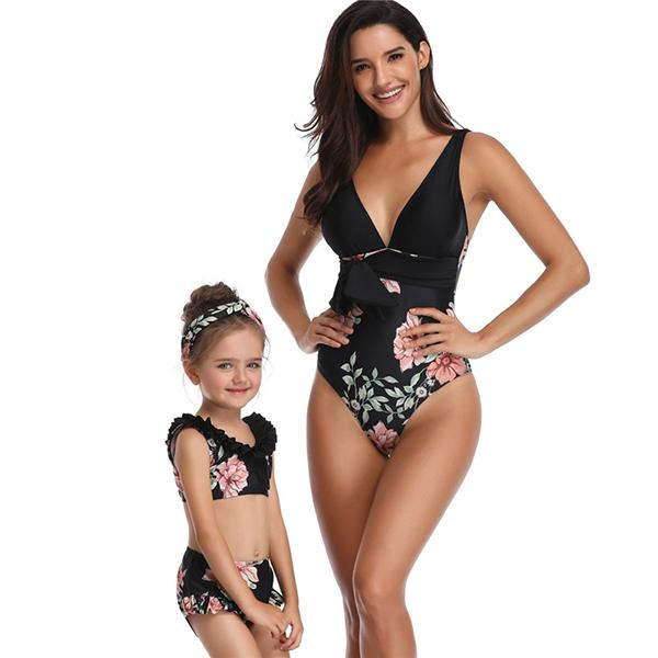 Mom & ME  Flower Printed V Neck Swimsuit - fashionyanclothes