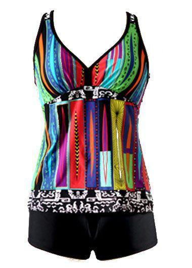 Racerback Padded Printed Tankini Top and Shorts