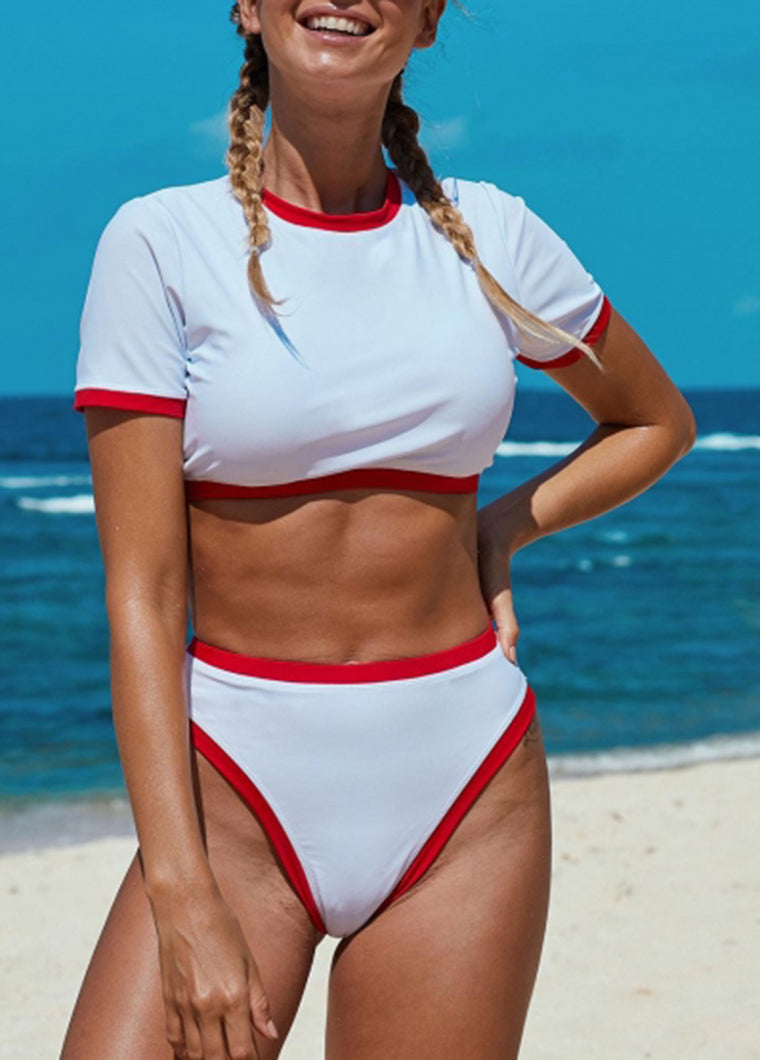 Two-piece Cropped T-shirt High Waist Swimwear - fashionyanclothes