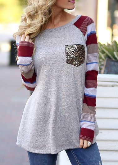 Long Sleeve Print Pocket Sequins T-shirt