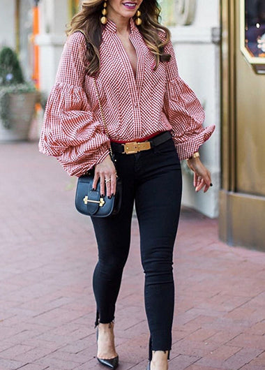 Flare Sleeve Plaid Print Button Up Blouse - fashionyanclothes