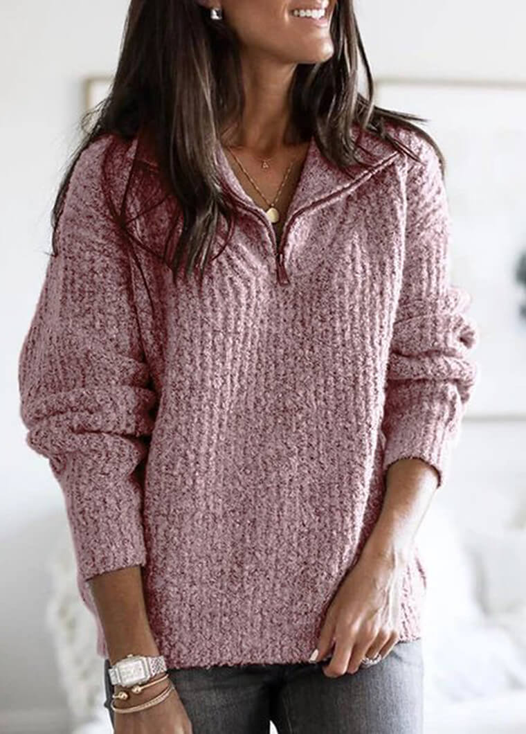 Zipper High Neck Long Sleeve Knit Sweater - fashionyanclothes