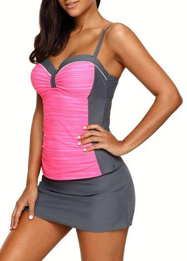 Sweetheart Neckline Tankini Top and Pantskirt - fashionyanclothes
