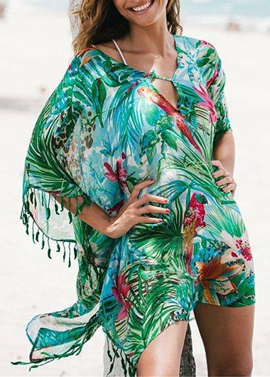 Loose Chiffon Printed Cover Up - fashionyanclothes