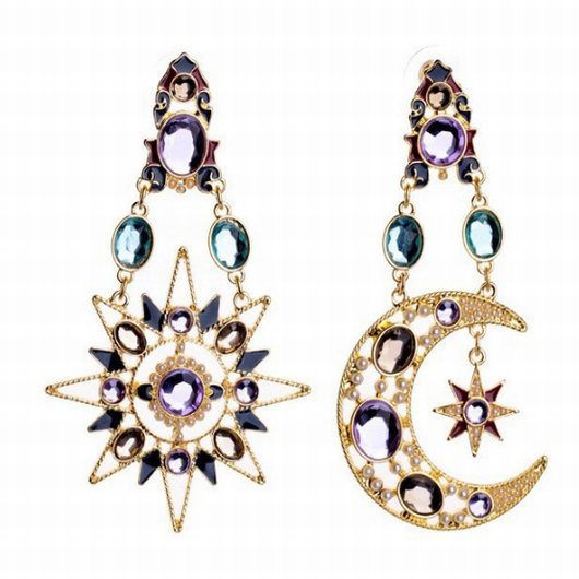 Rhinestone Design Sun and Moon Metal Pendant Earrings - fashionyanclothes
