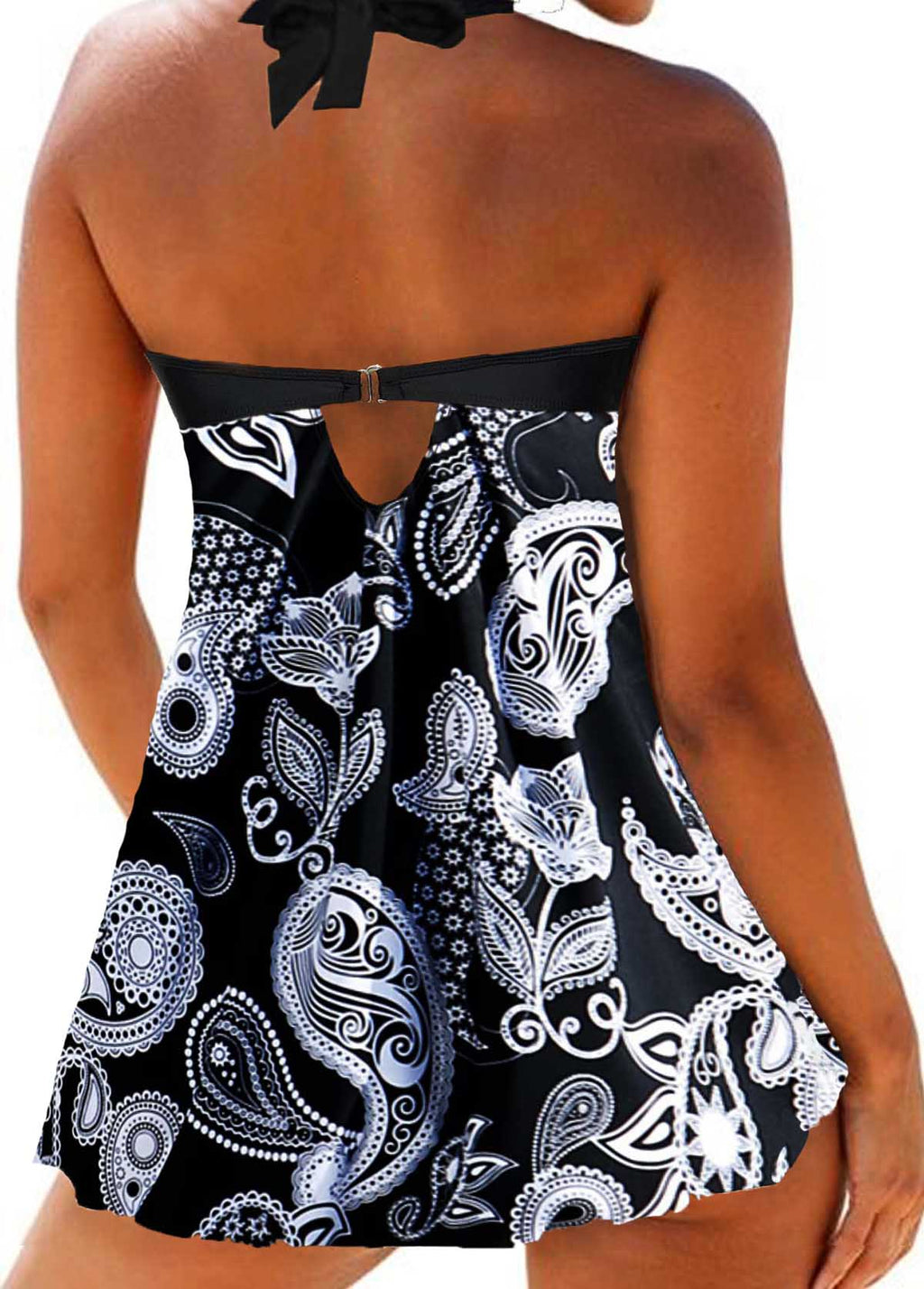 Dot and Paisley Print Swimdress and Shorts