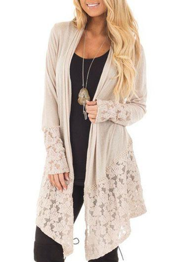 Lace Asymmetric Hem Cardigan - fashionyanclothes