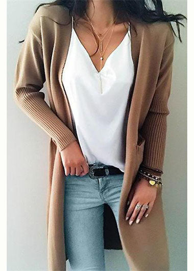 Knit Solid Color Open Collar pocket Cardigan - fashionyanclothes
