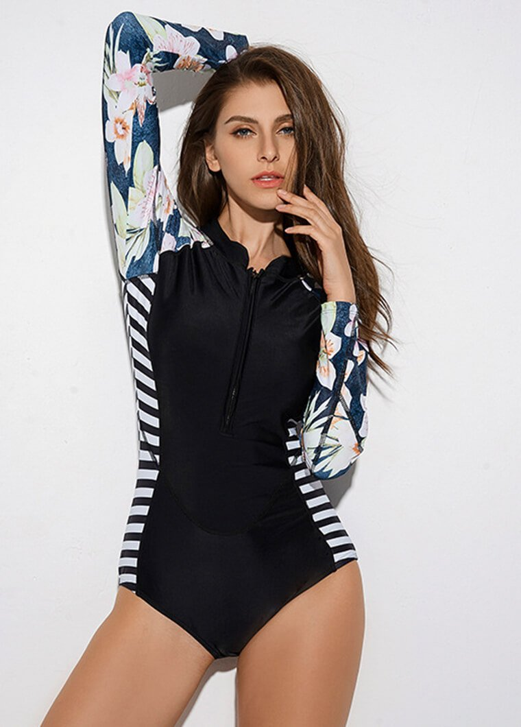 Flower and Stripe Printed Long Sleeve Wetsuit - fashionyanclothes