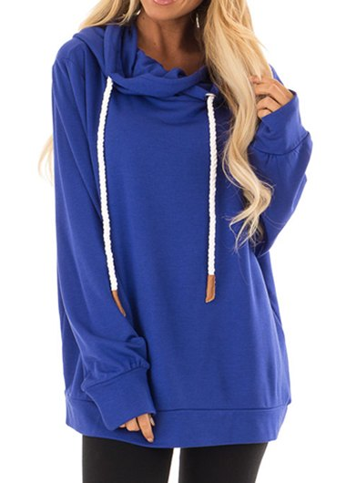 Long Sleeve Hoodie with Rope Drawstring - fashionyanclothes