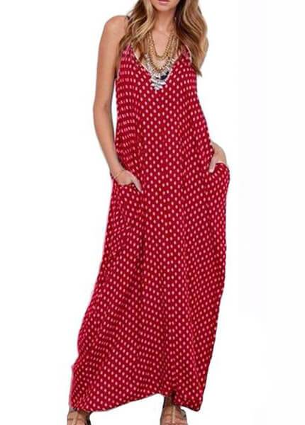 Plus Size Polka Dot Print Maxi Dress - esshe