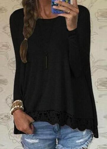Lace Loose Casual O-neck Shirt Top - fashionyanclothes