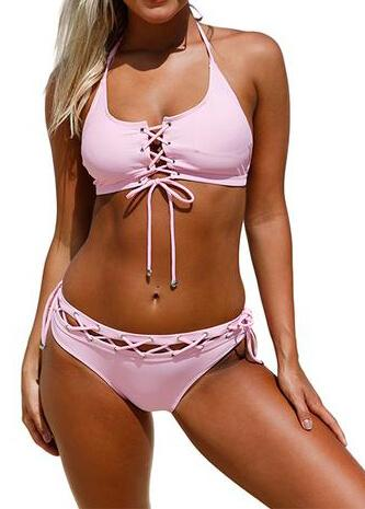 Lace up Halter bathing suit - fashionyanclothes