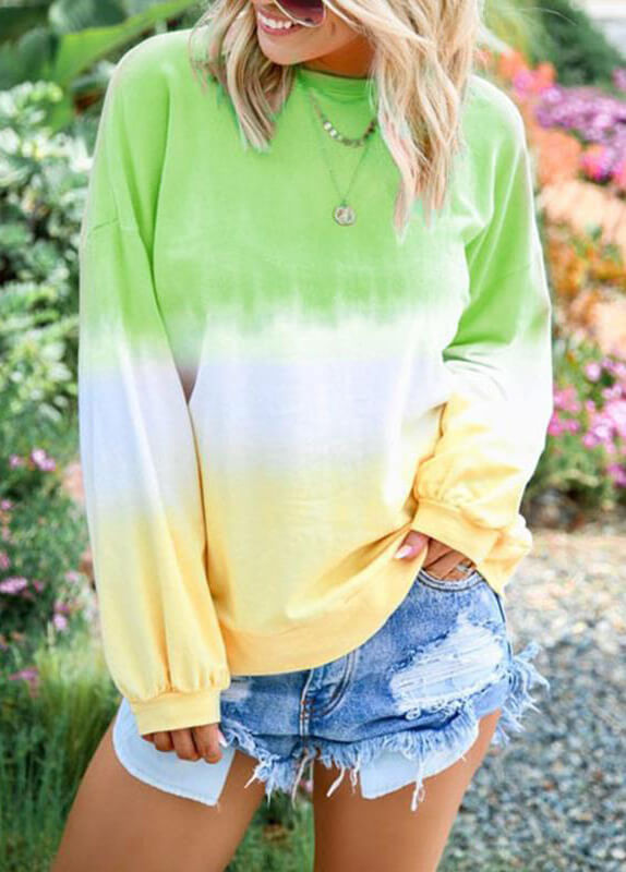 Rainbow Gradient Long Sleeve Sweatshirt