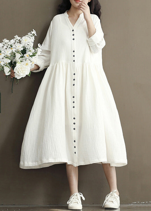 Retro Cotton and Hemp Long Sleeve Bat Dress