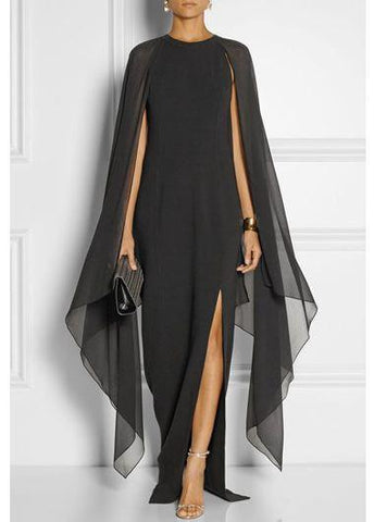 Slim Solid Split Beach Party Long  Dress - esshe