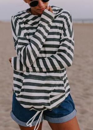 Striped Pocket Hoodie - fashionyanclothes