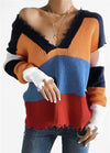 Color Block Frayed Hem Sweater - fashionyanclothes