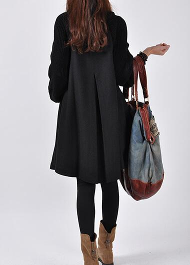 Button Closure Grey Long Sleeve Swing Coat - fashionyanclothes
