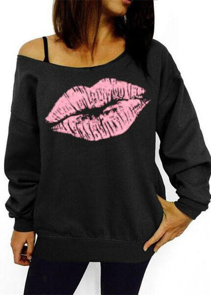 Plus Size Red Lips Printed Off Shoulder Hoodies - esshe