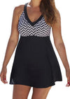 High Waisted  Halter Cross Patchwork Tankini - fashionyanclothes