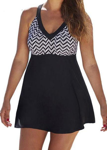 High Waisted  Halter Cross Patchwork Tankini - esshe